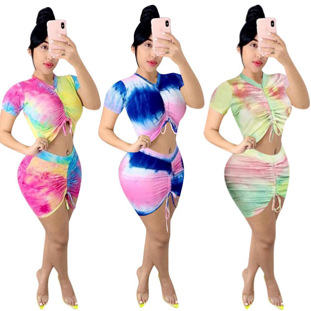 Лето Прекрасные девушки юбки наборы Real Image Tie-краситель Печатные Короткие рукава тройники с Draw stringTwo Pieces Beach Party Sets2020