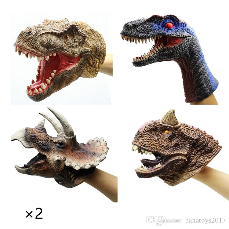 Tyrannosaurus Rex Carnotaurus Velociraptor Triceratops Family Realistic Rubber Dinosaur Animals Hand Puppet Gloves Toy for Kids