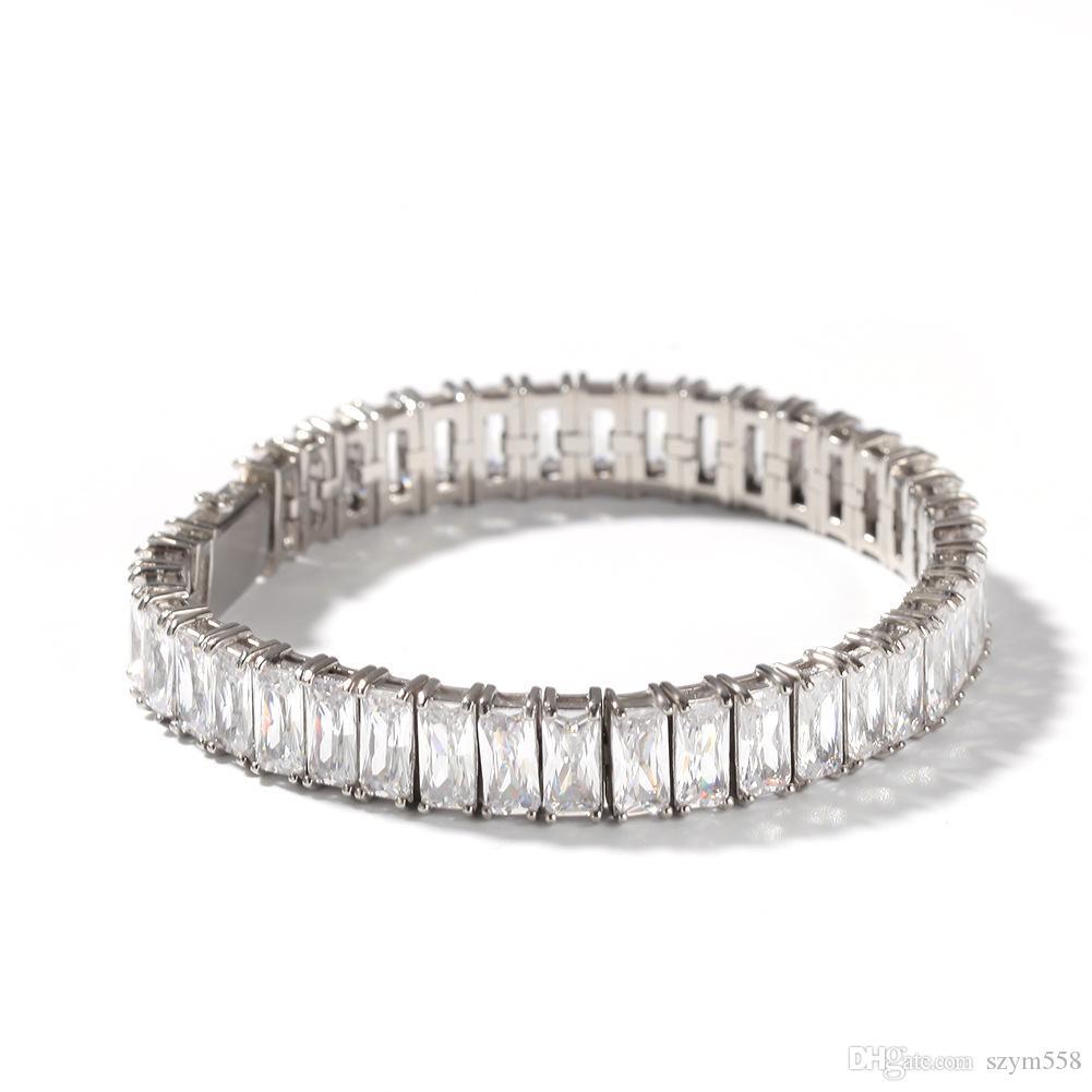 Neue Qualitäts-Hip Hop-Männer Armband voller Diamanten-Armband Micro Zirkonia 316-Edelstahl-Halskette Set Diamant Miami Cuban