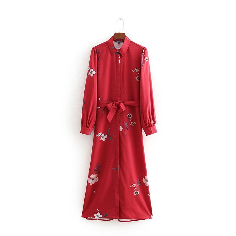 QZ898 Spring fashion floral print Waistband Deco Red Dress Ladies Long Vestidos