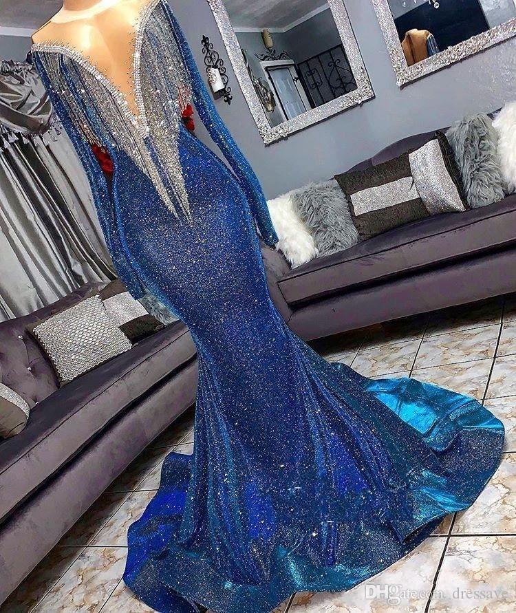 Sequins Mermaid Abiye giyim 2020 Yansıtıcı Elbiseler Boncuk Sheer Boyun Uzun Kollu Denizkızı Püsküllü Sweep Tren Resmi Balo Parti Elbise