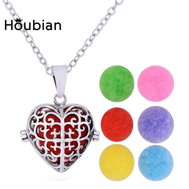 Houbian en forme de coeur creux Essential Collier huile pendentif femme est ouvert en forme de coeur Collier Médaillon Accessoires