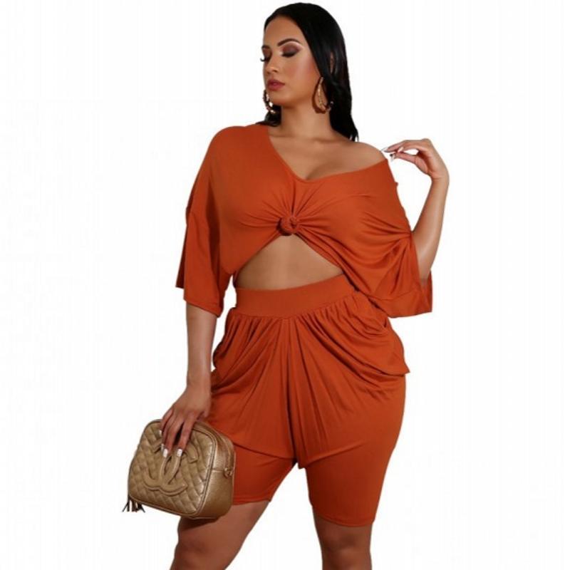 2020 여성 패션 의류 세트 스트레칭 섹시한 숙녀 작물 탑 루슈 반바지 복장 아프리카 아가씨 캐주얼 2 조각 세트 여름 느슨한