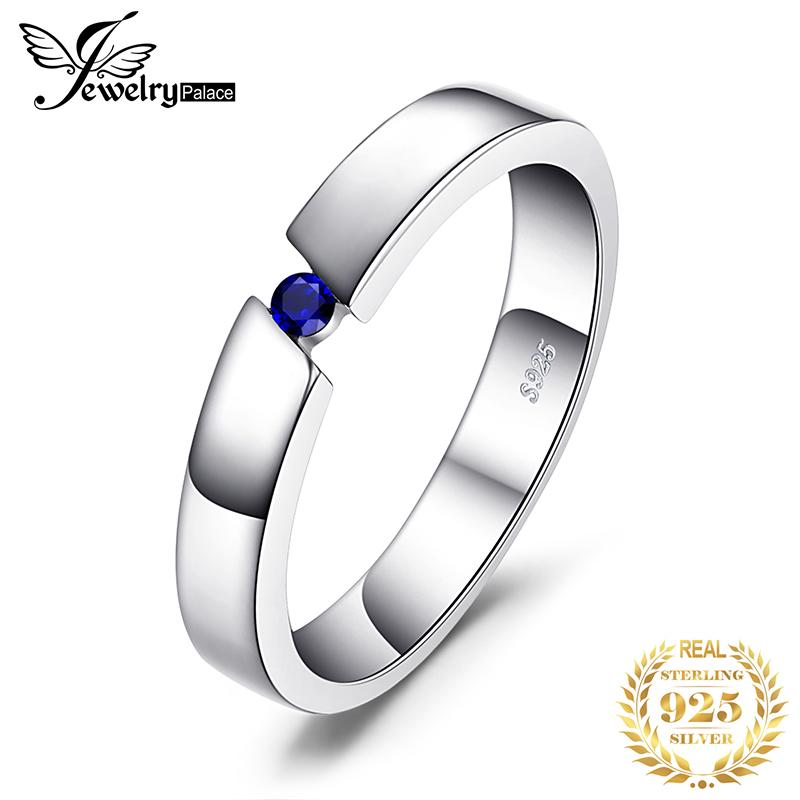 JewelryPalace Erstellt Blau-Saphir-Ring 925 Sterlingsilber-Ringe für Frauen Trauringe Eternity Band Silber 925 Fine Jewelry