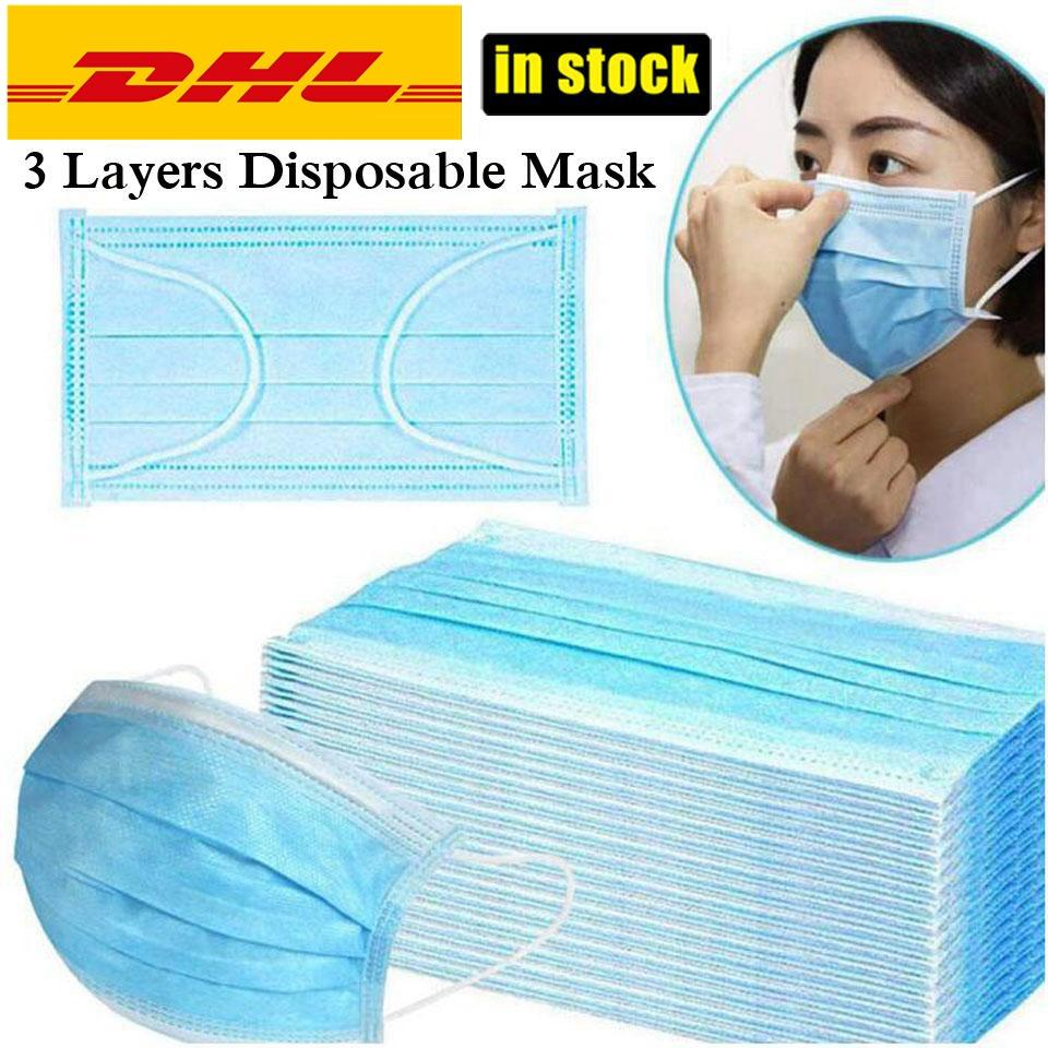 Disposable Anti Pollution Face Mask Anti Dust Mouth Mask Breathing 3 ply Earloop Elastic For Mask Protective Facemask DHL Fast Delivery