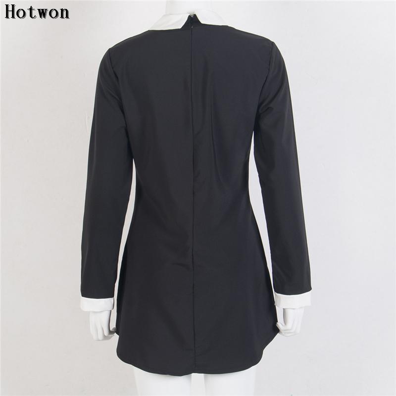 핫 패션 가을 여성 긴 짧은 미니 드레스 피터 팬 칼라 고체 캐주얼을 똑바로 미니 드레스 슬리브