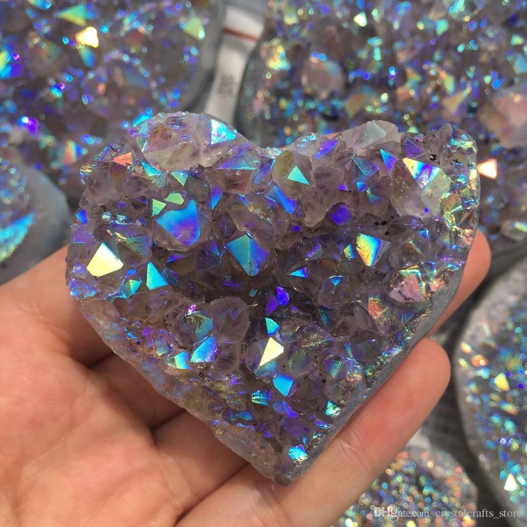 Natürliche Aura Amethyst Quarz Cluster herzförmige Edelsteine