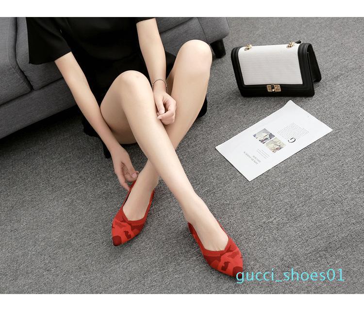 nuovi pattini delle donne di estate traspirante morbido camuffamento stampa leopardo basso scarpe basse in maglia a punta piatta bocca poco profonda singoli pattini g01