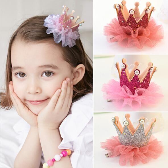 Navio livre 30 pcs Adorável Bonito Meninas Da Coroa Da Princesa Grampo de Cabelo Rendas Pérola Brilhante Estrela Headband Grampos de cabelo Faixa de Cabelo Acessórios