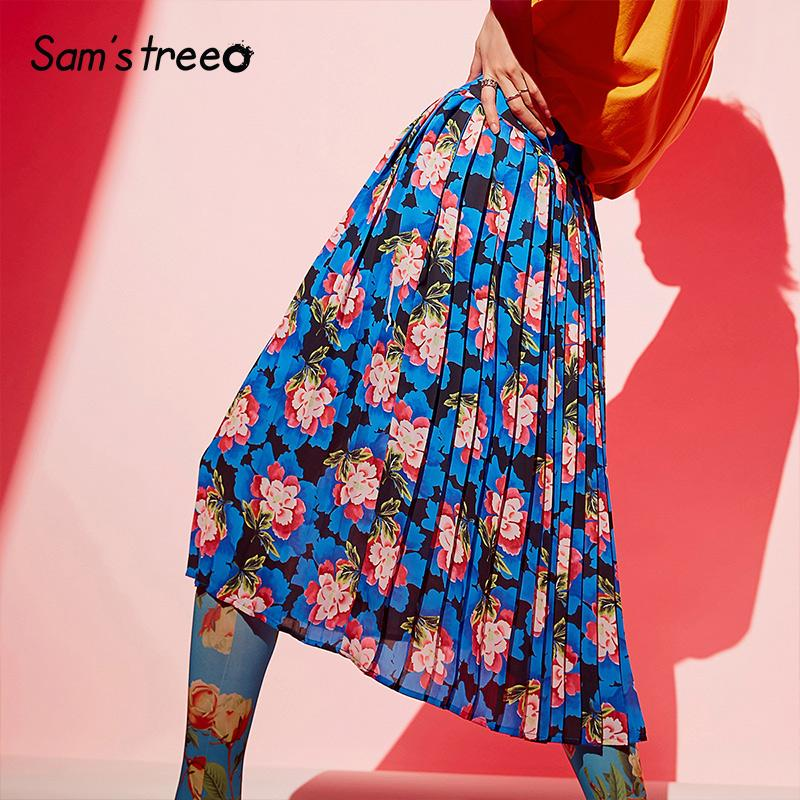 Samstree falda plisada verano 2020 mujeres de una línea de la vendimia Flores Imprimir floja de la gasa de la falda más el tamaño de media pantorrilla maxi largo