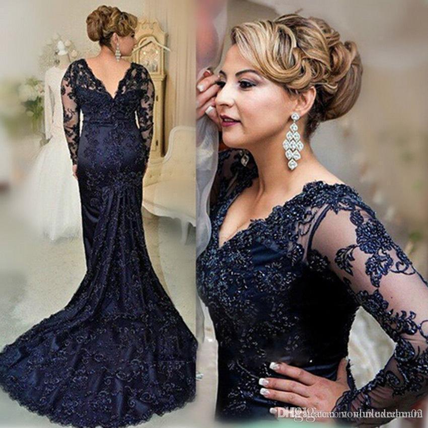 Azul longo da marinha mangas Vestido sereia Applique Lady Lace Wear Prom vestido de festa Formal Evento Vestido Mãe da noiva Vestido