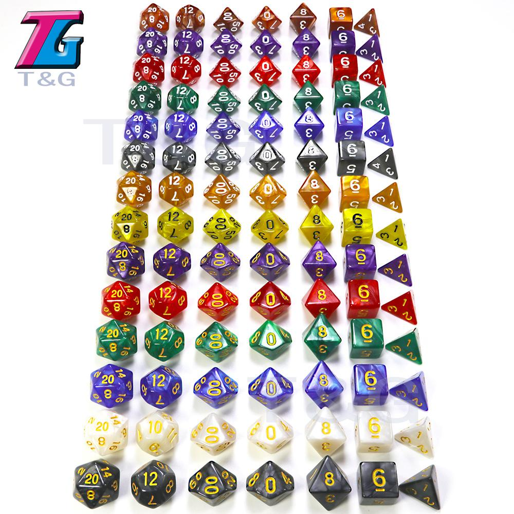 7pc/lot dice set High quality Multi-Sided Dice with marble effect D4D6 D8 D10 D10 D12D20 DUNGEON and DRAGONS D&d rpg custom dice