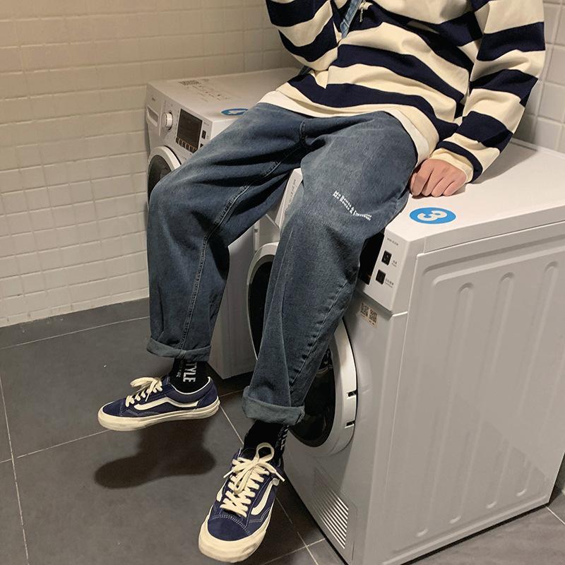 Gros 2020 rue lâche lettre broderie jeans printemps automne hommes de mode hip-hop adolescents garçons polyvalents pantalons