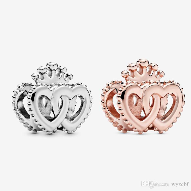 925 Sterlingsilber zwei Farben Crown interwined Herz-Charme passende Pandora Original-Charme-Armbänder Schmuckherstellung