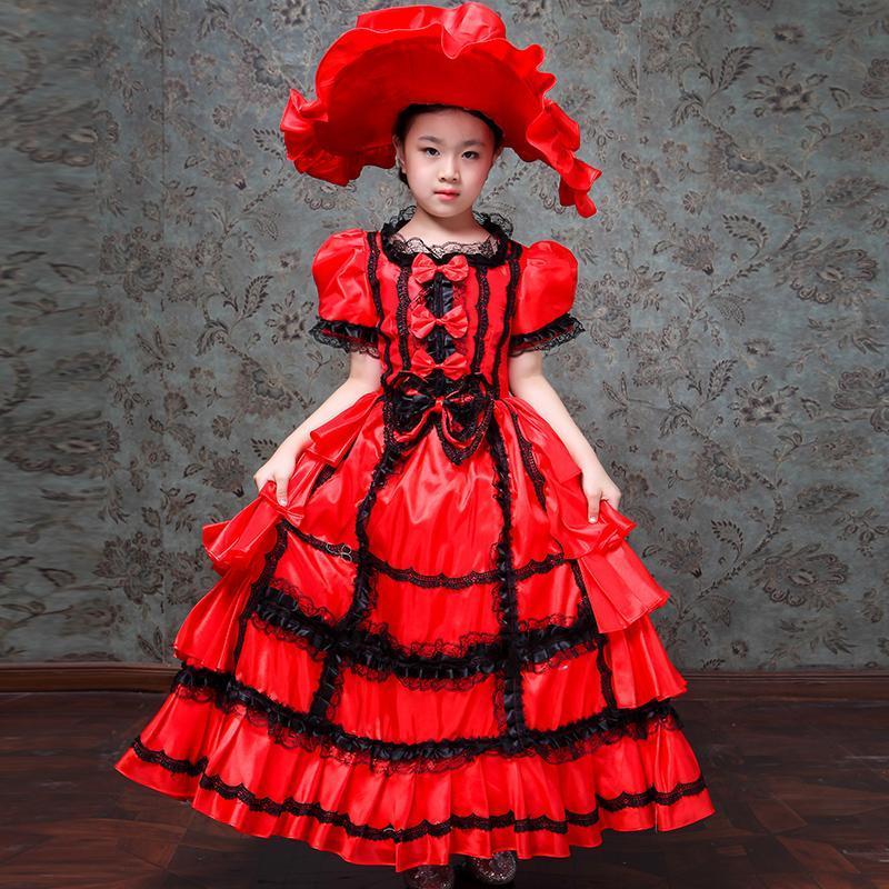 Costumi delle ragazze Abiti principessa Lace Maria Antonietta abito da sposa Bambini Masquerade abiti del partito di compleanno dei bambini Vestiti S566
