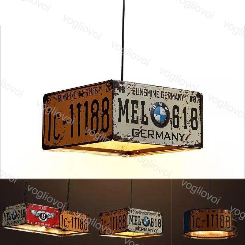 Sarkıt Lambaları Vintage Plaka Demir Numarası Süspansiyon Işık Metal Aydınlatma E27 Fordinning Room Restaurant Hotel Loft Shop DHL