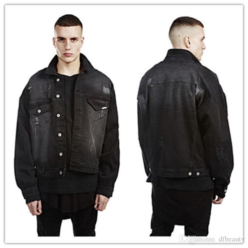 패션 남성 디자이너 자켓 고품질 streetwear 대형 남성 batwing 슬리브 빈티지 찢어진 고민 된 데님 자 켓 데님 의류 조수