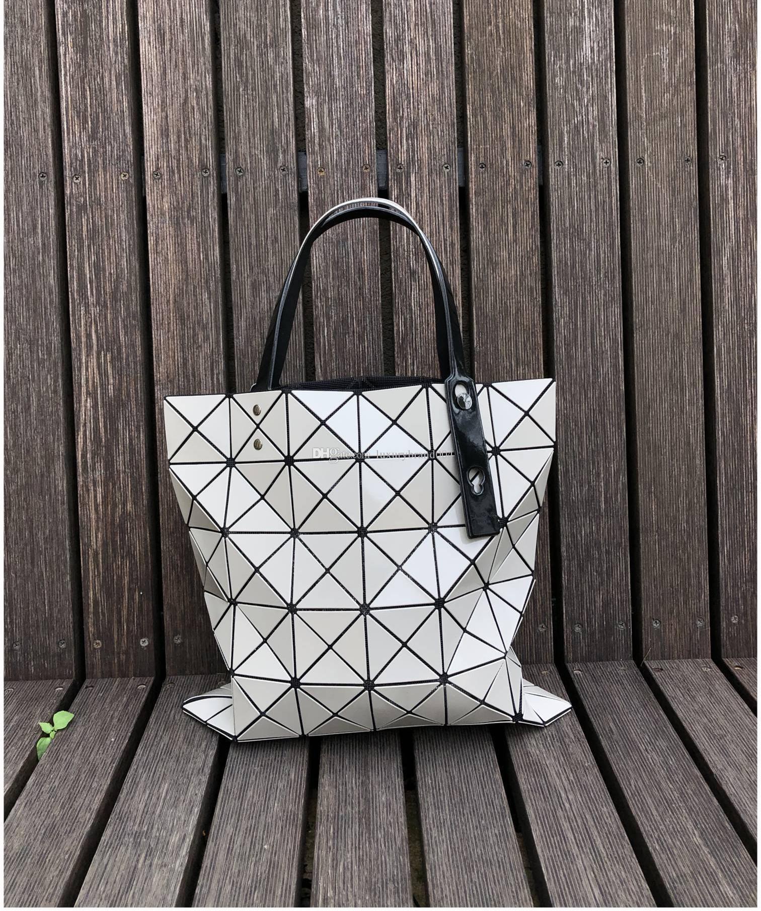 2019 Бао Бао мода сумка Лазерной Геометрия ромб ПВХ голографического мешок Лоскутных женщины Totes мешок плеча размер 34x34cm