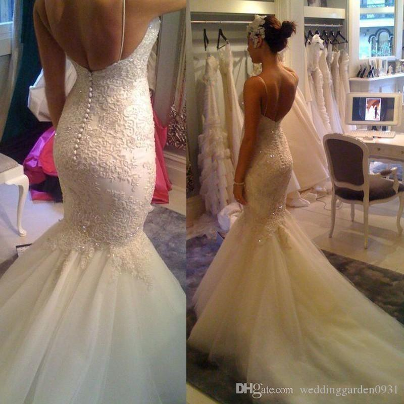 New Sexy Spaghetti Straps Lace Mermaid Wedding Dresses Applique Sequins Open Back Court Train Wedding Gowns Bridal Gowns Custom Made
