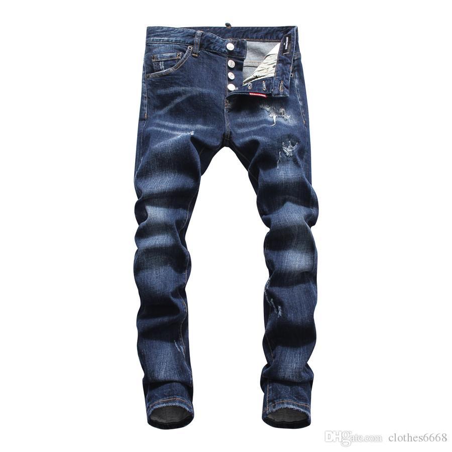 Diseñador del Mens pantalones vaqueros destruidos ajuste fino flaco de la vendimia arrancó de mezclilla azul púrpura Marca vaqueros para hombre de la motocicleta corredores