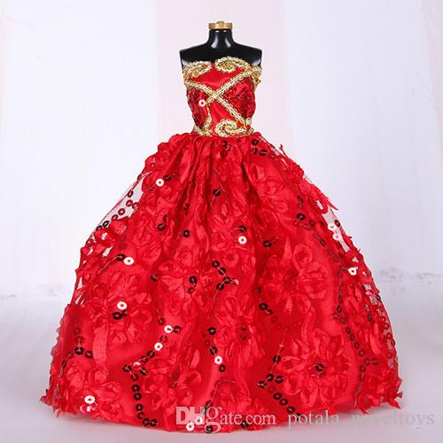 Red Fashion Princess Doll Crown Wedding Dress Noble Party Gown Evening Party Ball Long Gown Skirt Bridal Veil Clothes for Doll Accessories