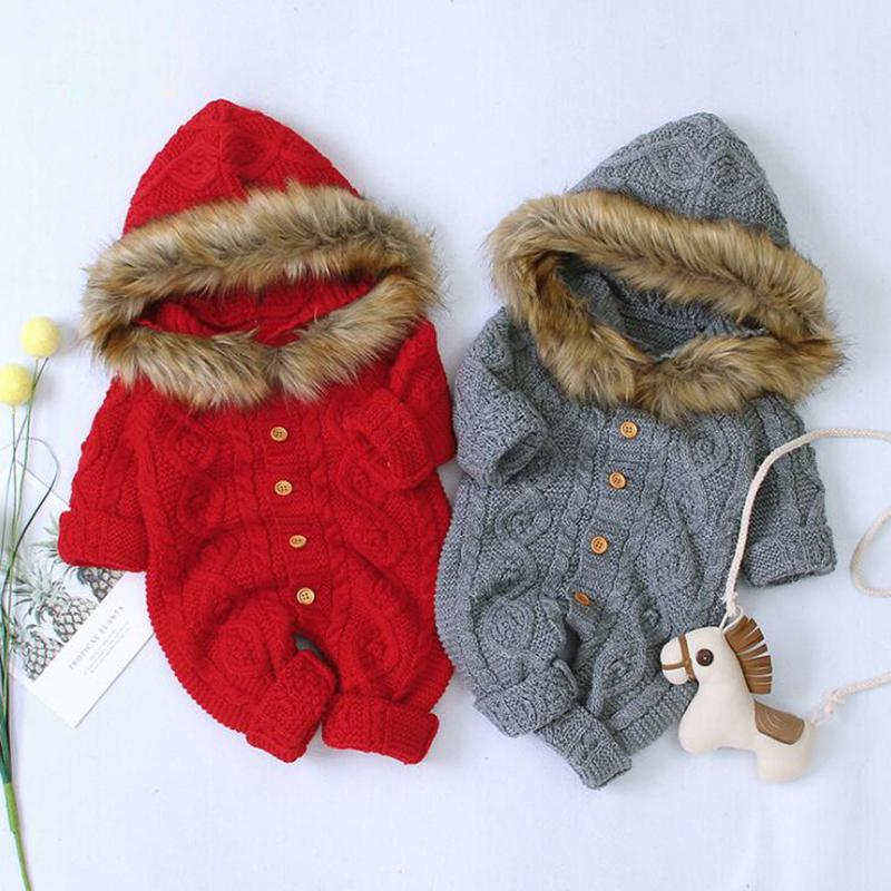 Infant Baby Boys Girls Hooded Rompers Clothes New 2020 Children Baby Boy Girl Kids Knitting Fur Collar Long Sleeve Rompers