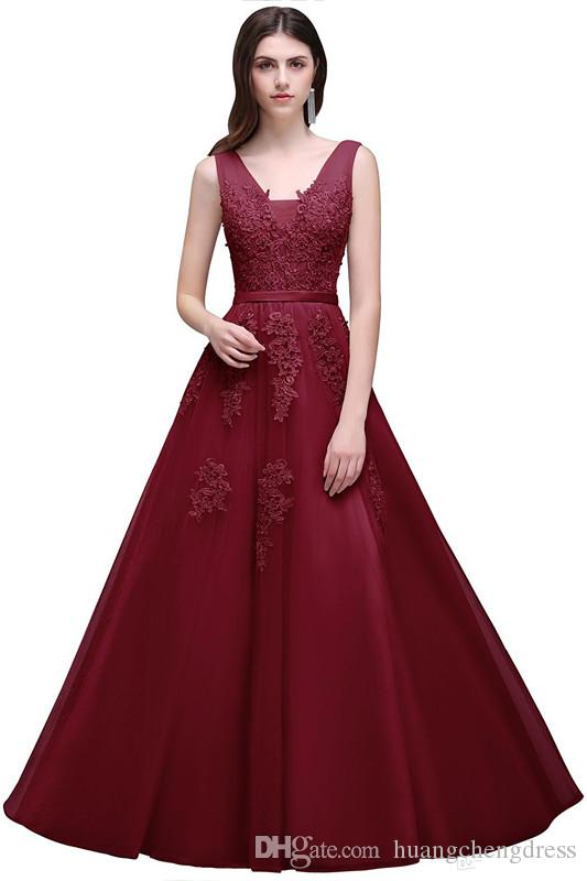 Vintage 2019 New Sexy Lace Tulle Prom Dresses A Line V Neck with Appliques Open Back Evening Gowns Bridal Reception Dress Cheap