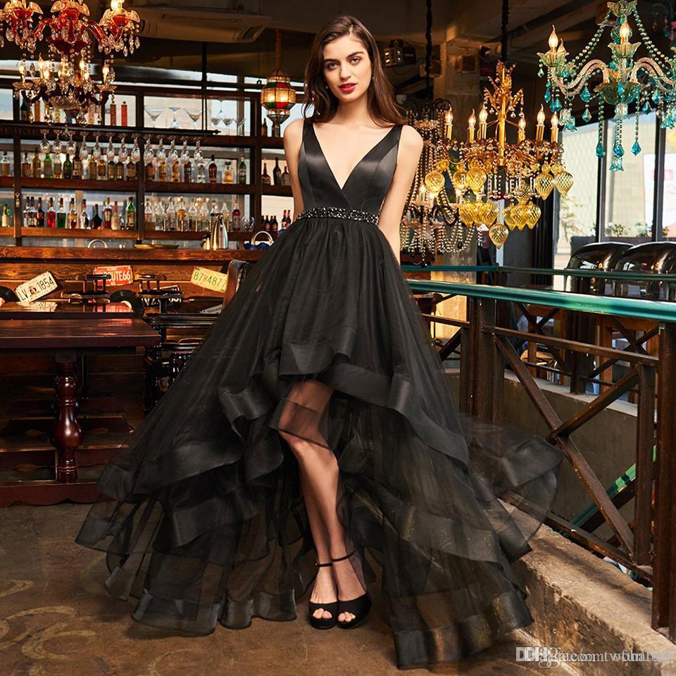 New black sample Evening dress elegant v neck zipper up a line beading wedding party formal dress cocktail dresses