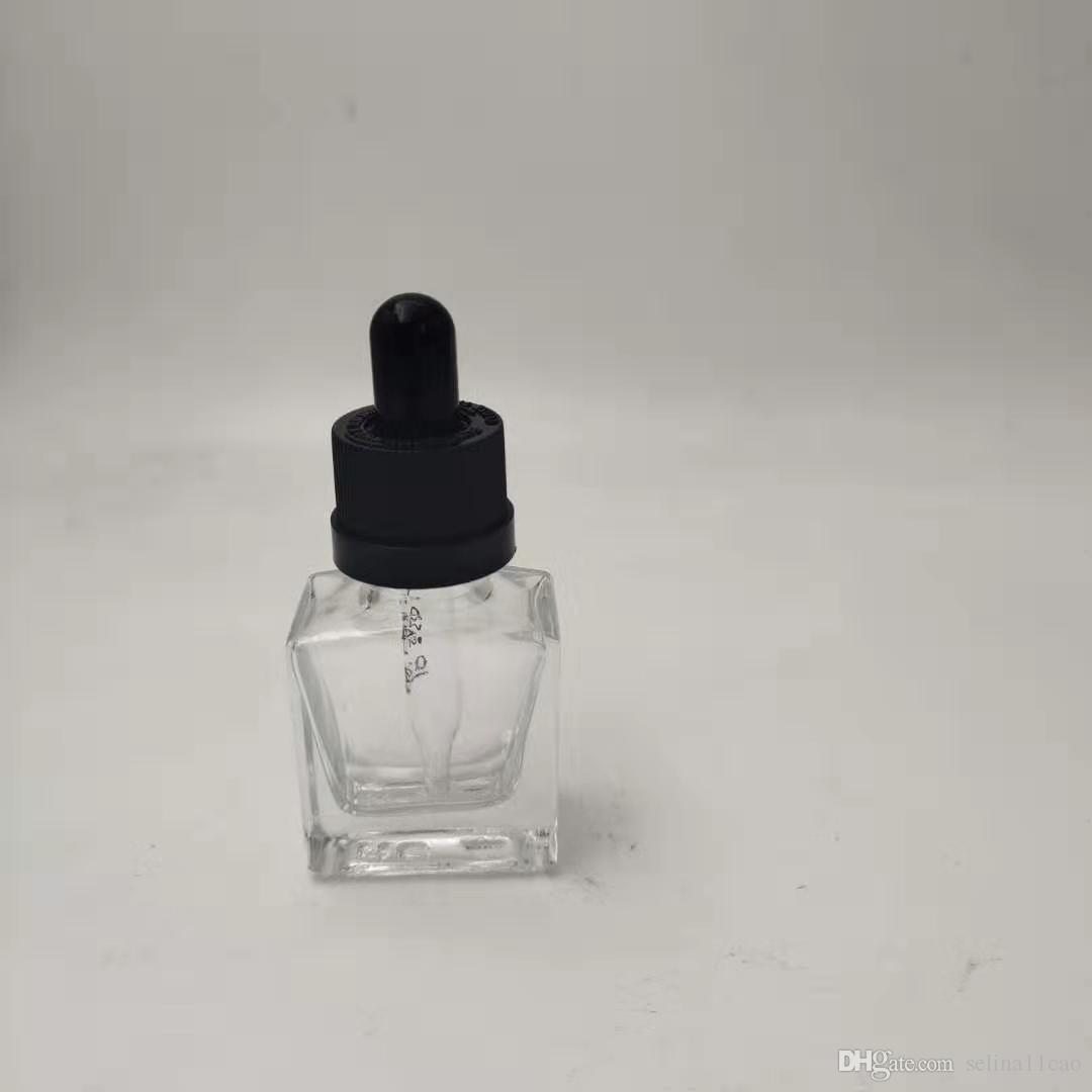 Vape empty square glass bottle jars smoke oil dropper bottles with childproof tamper evident cap ejuice essential oil 15ml 30ml 50ml 100ml