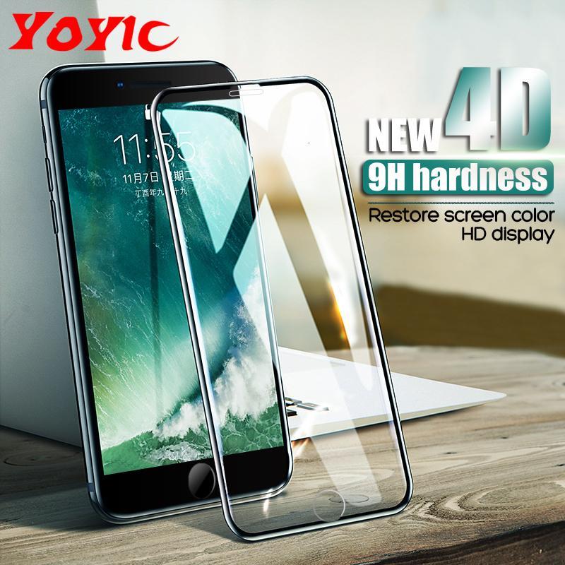 Cristal de protección en la pantalla para el iPhone 6 6S templado Protector 4D de borde curvado de cristal para el iPhone 8 7 Plus X de cristal Película