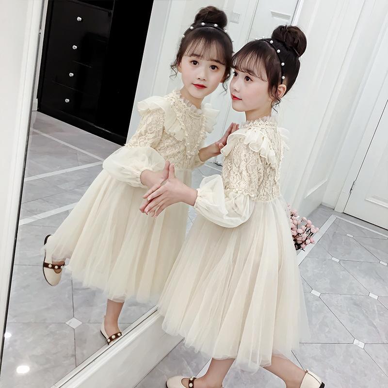 Kız Prenses Etek Çocuk 0201 Uzun Kollu Elbise Kız Yabancı Atmosfer İplik Etek Kabarık Pretend