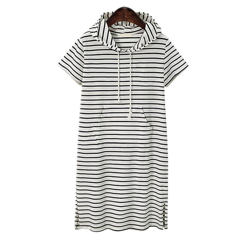 Plus Size 4xl 5xl Women Hoodies A Pockett Dress Summer Short Black And White Zebra Striped Clothes Work Vestidos Y19071001