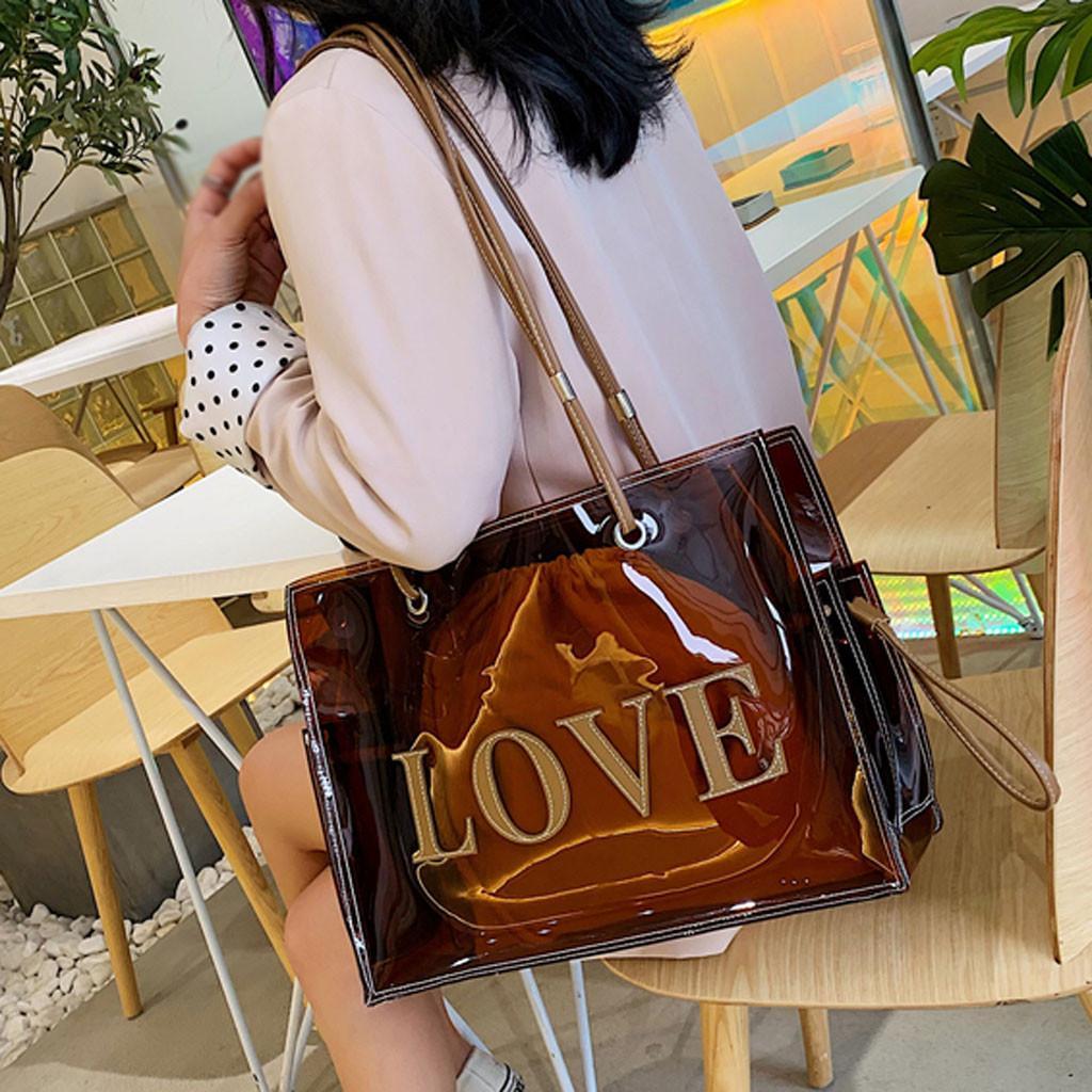 Diseñador de asa superior Bolsas para mujeres grandes Borrar Bolsas para mujeres de lujo bolsos de diseño transparente bolsa de hombro con una sola mano / 4