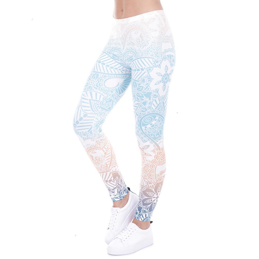 Polainas de las mujeres caliente Marca Ventas polainas Mandala Mint Imprimir aptitud Legging alta elasticidad Leggins legins pantalones pantalones para las mujeres
