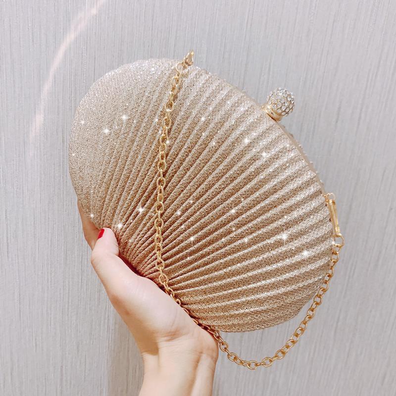 Pailletten Diamanten kleine Gold-Silber-Dame-Abendbeutel Kette Frauenschulterbeutel Shell Handtasche Clip Parteigeldbeutel