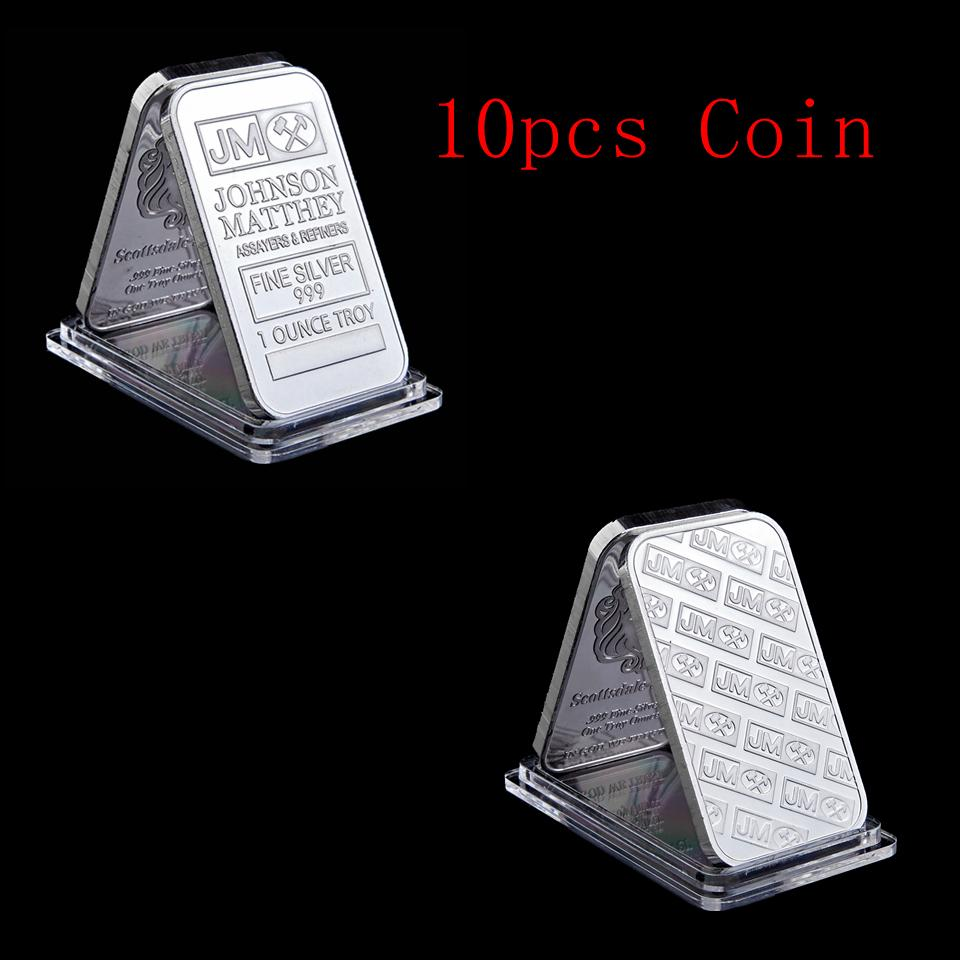 10pcs Johnson Matthey JM Badge 1OZ Silver Plated 50Mm X 28Mm American Bar Decoration With Serial Number
