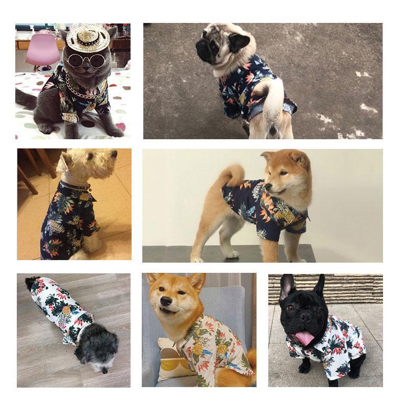 Pet Primavera Estate vestiti del cane Cotone stampato la maglietta del cucciolo dell'animale domestico vestiti Pug Yorkshire per costume i cani Chihuahua Cat Abbigliamento