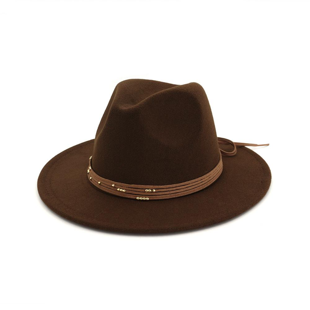OLOMLB Vintage Retro Plain Dyed Wool Felt Black Women's Hats Flat Brim Fedora Hat Wholesale Classic Unisex Jazz Trilby