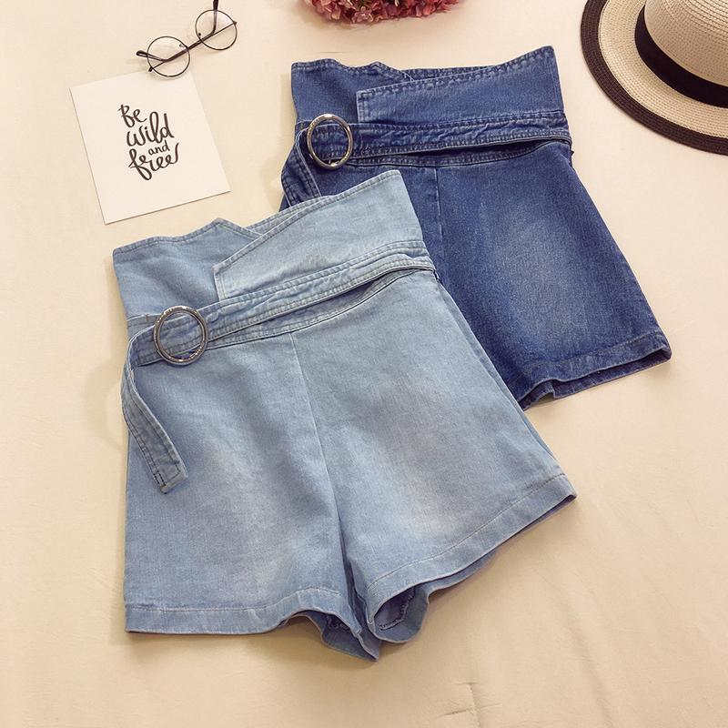 2019 nouvelle mode femmes shorts taille haute jeans shorts marée taille haute slim occasionnels pantalons à jambes larges