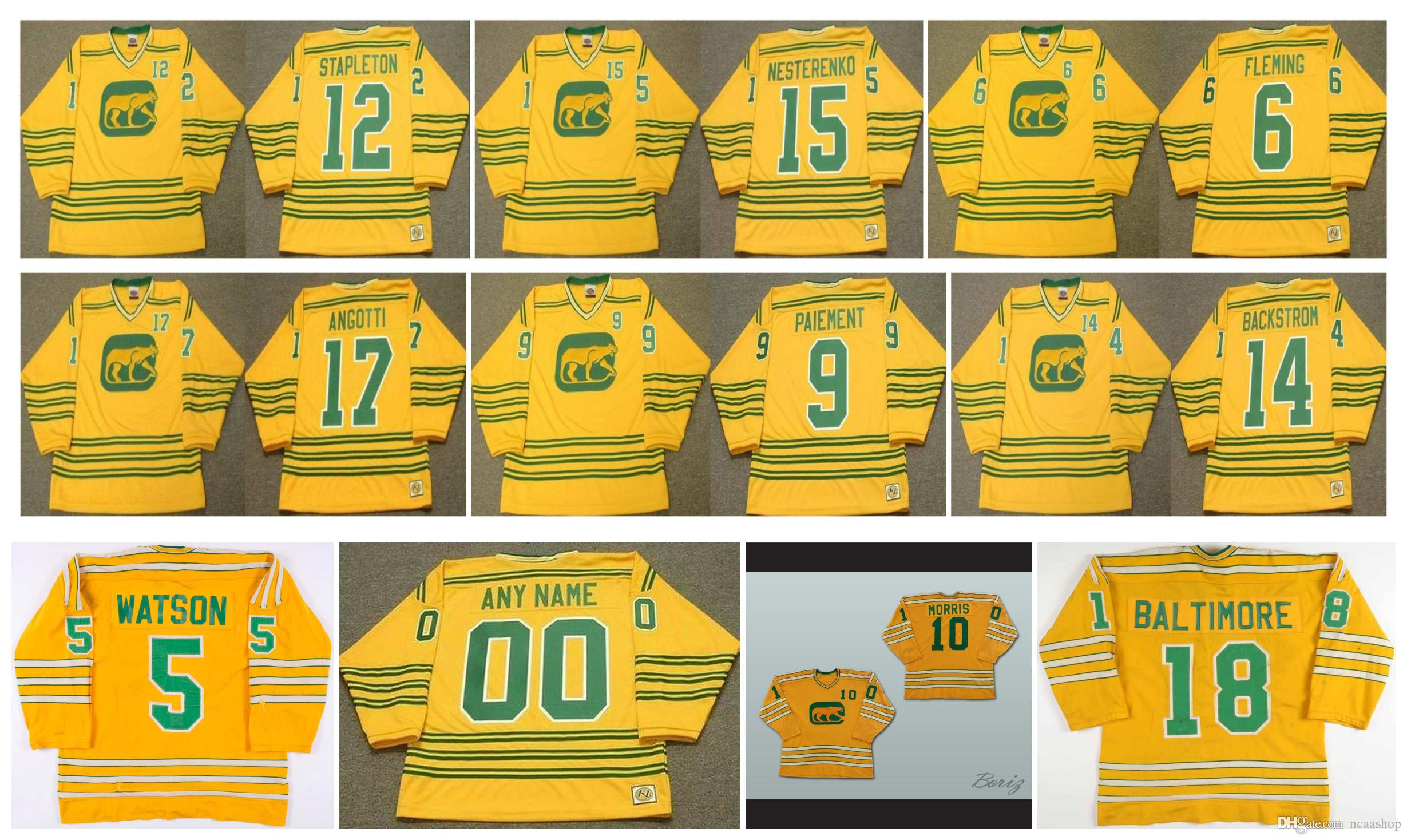 Vintage Chicago Cougars Trikot 6 REGGIE FLEMING 12 PAT STAPLETON 17 LOU ANGOTTI 15 ERIC NESTERENKO 14 Ralph Backstrom Gelb Retro Hockey