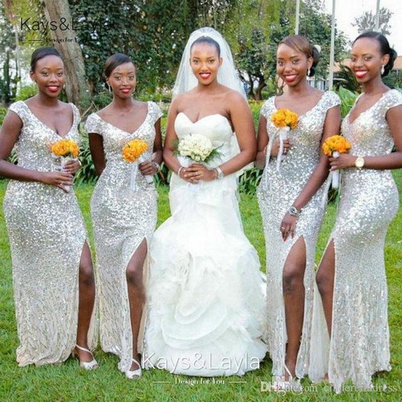 Nueva plata africana Vestidos de dama de honor con lentejuelas africanas 2020 V cuello sexy alto lado división largo vestido de fiesta de boda dama de vestidos de honor