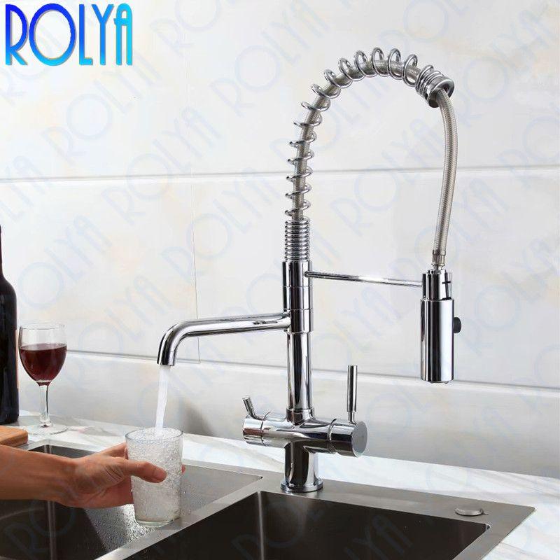 2019 Rolya Neue Ankunft Hohe Qualität Professionelle 3 Way Wasserfilter Wasserhahn mit Spritzschlauch Sauberes Wasser Küchenarmaturen Spültischmischer