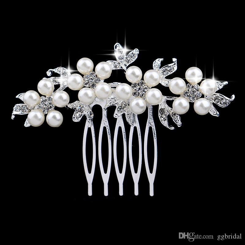 Prata EM ESTOQUE casamento nupcial Tiaras Impressionante Comb Headband jóias acessórios de cabelo com pérolas escova Headpiece hairpin para a noiva