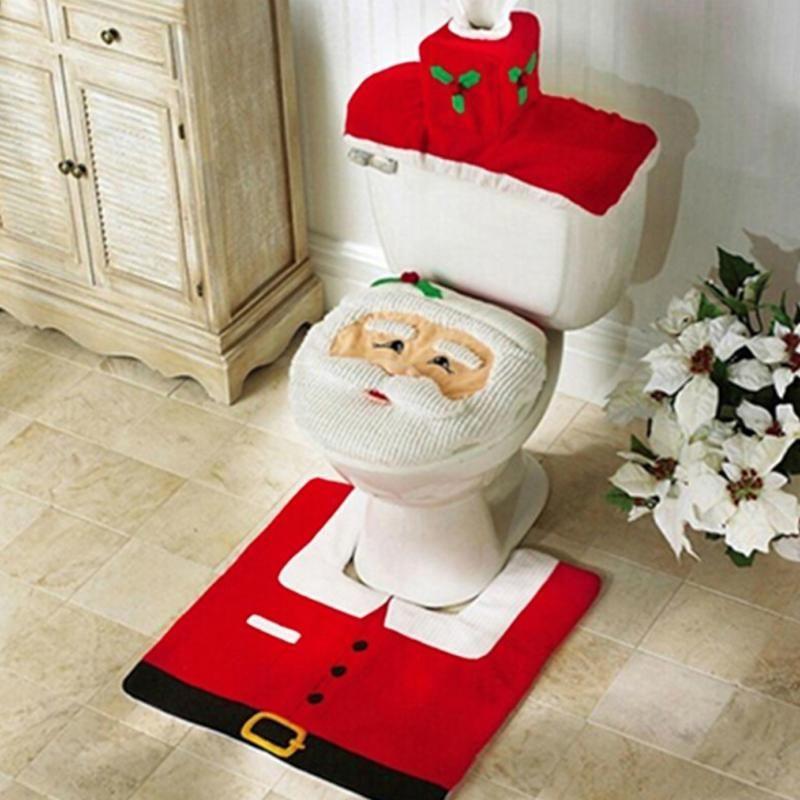 Banyo, Klozet Koyu Kağıt Halı Noel Noel Süslemeleri Noel Baba Yeni Yıl Dekor ile Kalınlaşmış Kürk Kenar