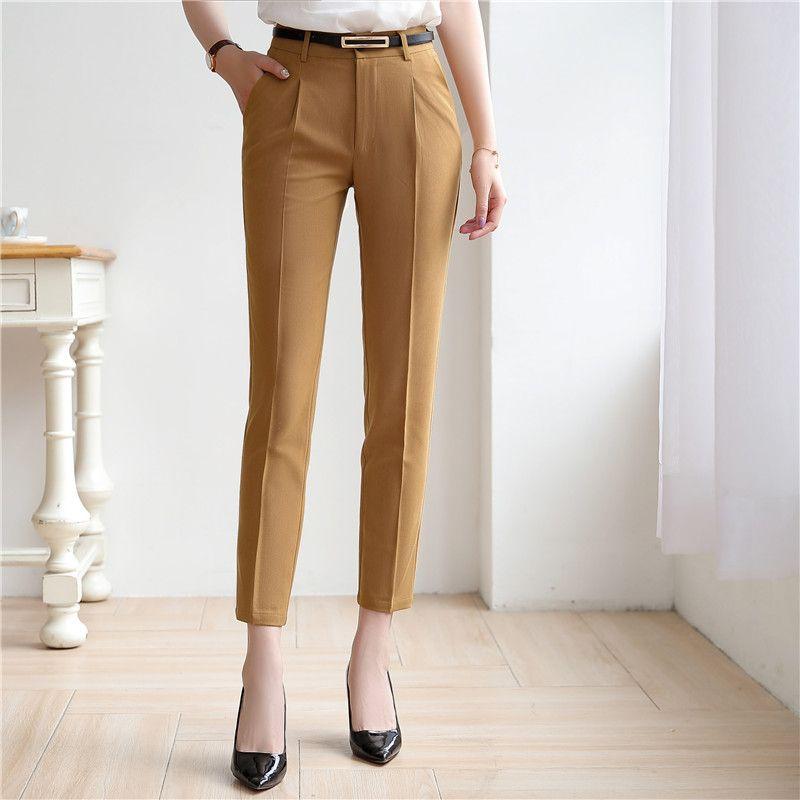 2019 Yeni Uzun Pantolon Yüksek Bel kadın Kalem Pantolon Rahat Katı Resmi Pantolon ofis iş elbisesi için Kadın Uzun Pantolon
