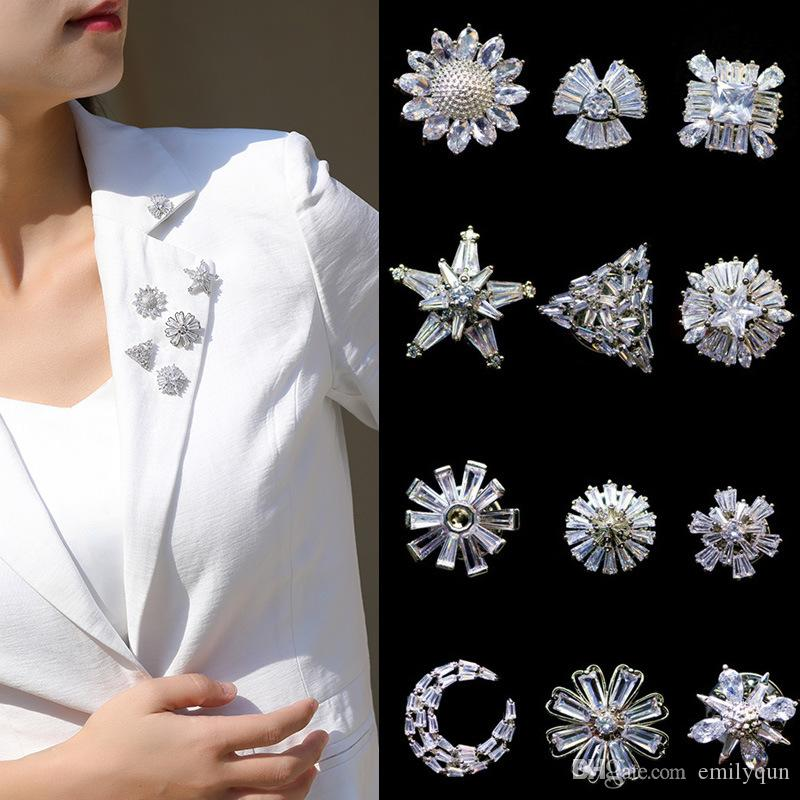 Zircon miniature Daisy Brooch Pin for ladys suit jacket pin