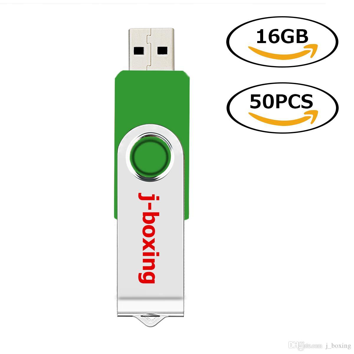 Yeşil Toplu 50 ADET Dönen USB 2.0 Tam Kapasiteli Başparmak Kalem Sürücü 64 MB-32 GB Bilgisayar Dizüstü Macbook Tablet için USB Flash ...