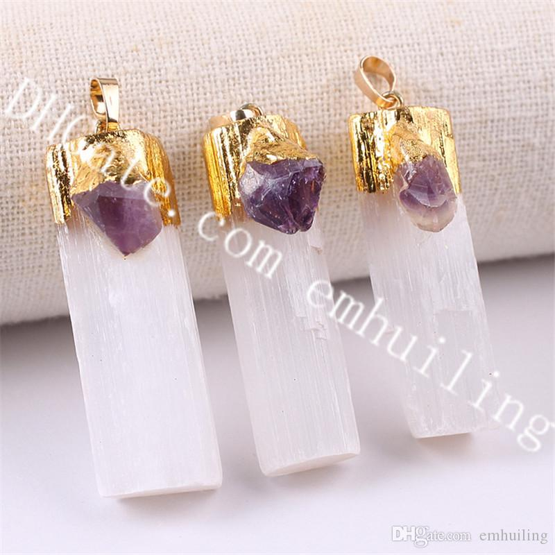 10Pcs Raw White Yellow Selenite Bar Pendant Jewelry Amethyst Citrine Stone Charm Natural Selenite Crystal Pendant w/ Gold/Silver Plated Top