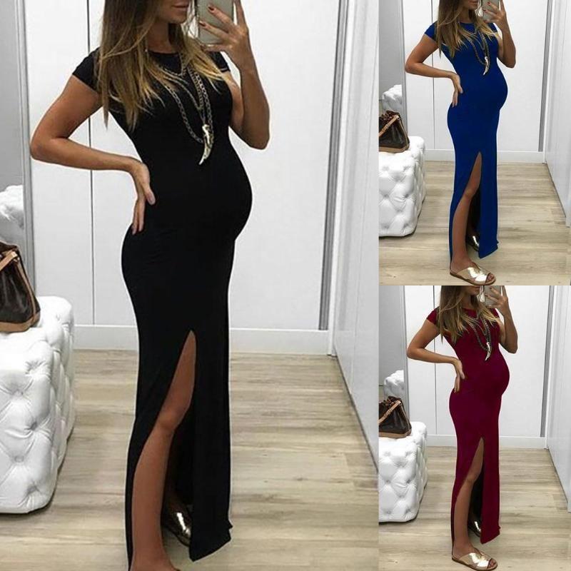 Maternity Dresses Pregnant Womens Clothing Dress Fashion Women Solid Short Sleeve Bodycon Open Fork Pregnancy Maternity Dress