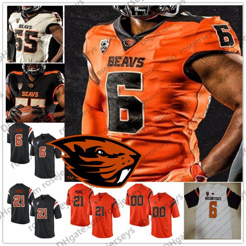 Nome do produto: Personalizado Oregon State Beavers 2019 Futebol Qualquer Nome Número Preto Branco Laranja 6 Jake Luton 22 Jermar Jefferson 1 Tyjon Lindsey NCAA Jersey